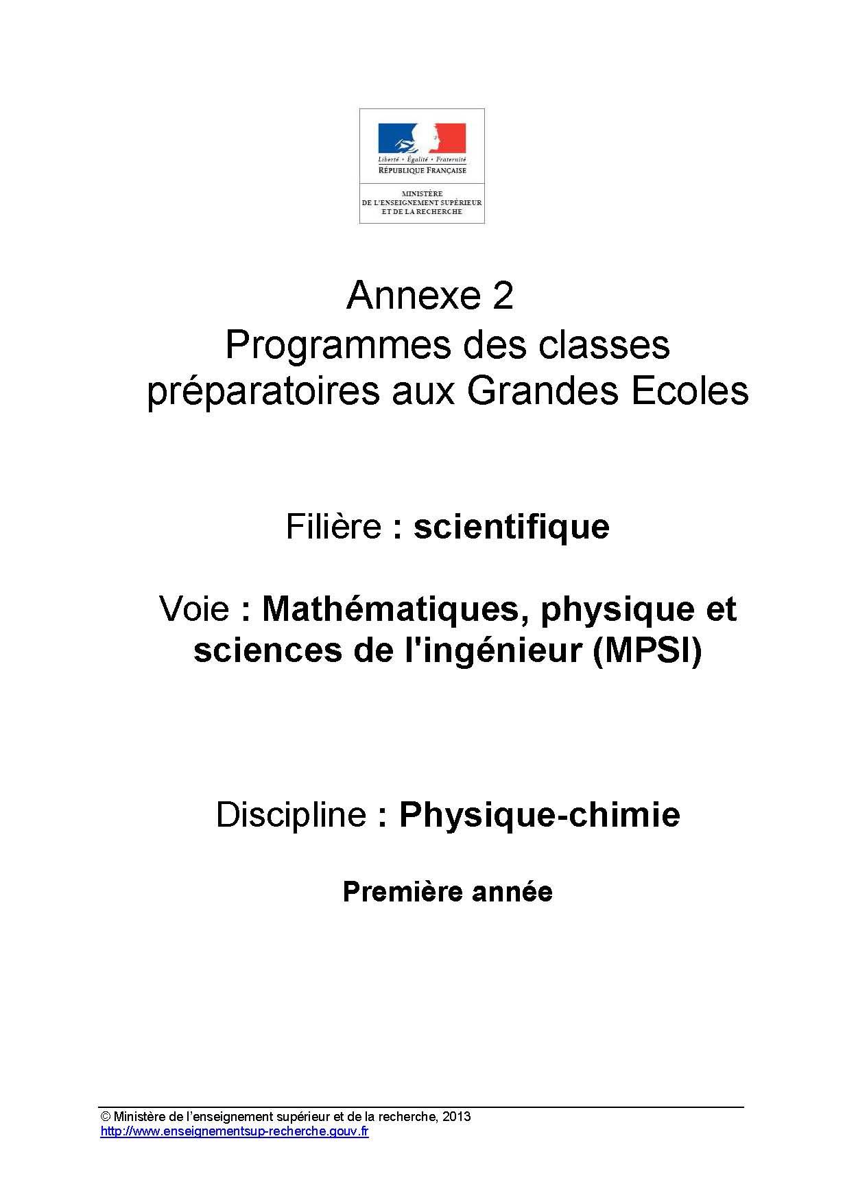 Annexes et programme sciences Physiques en MPSI