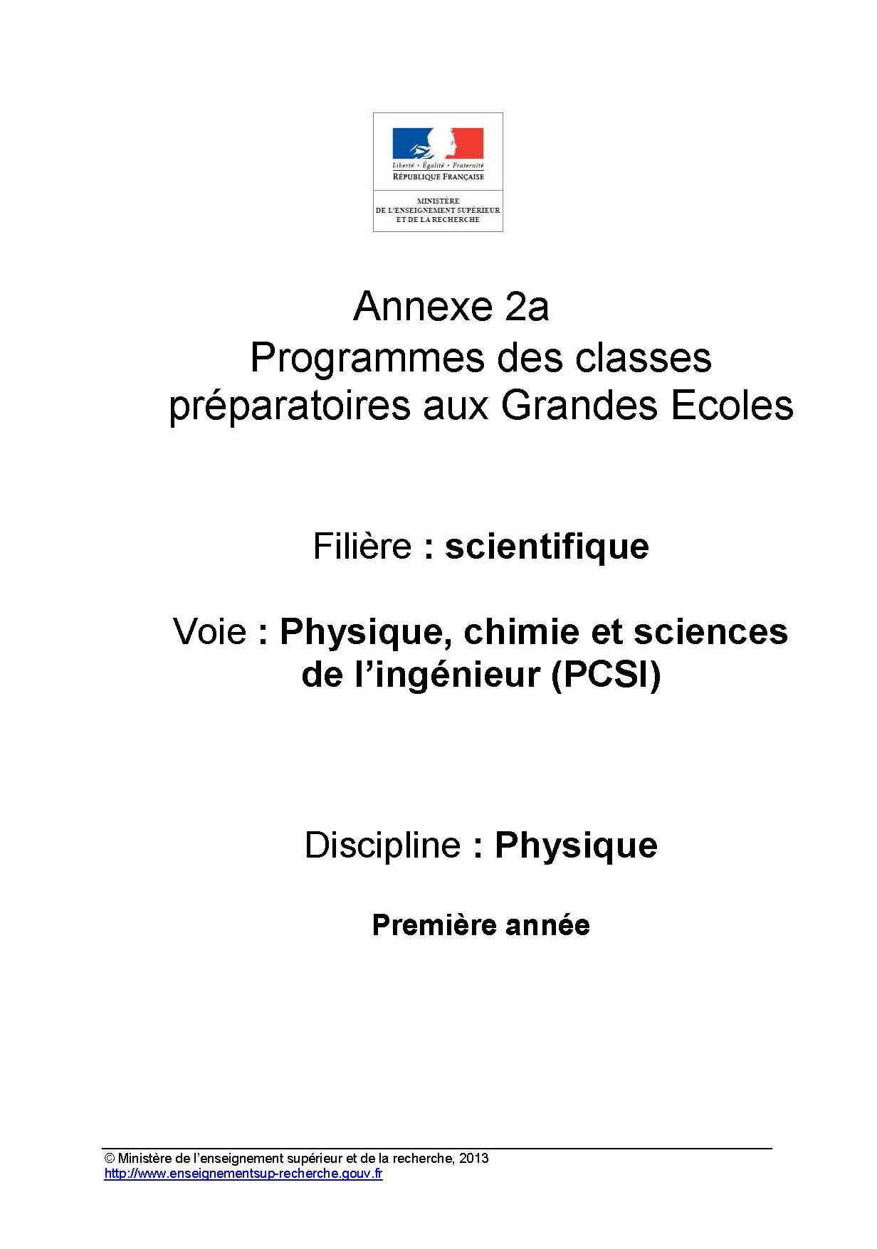 Annexes et programme PCSI
