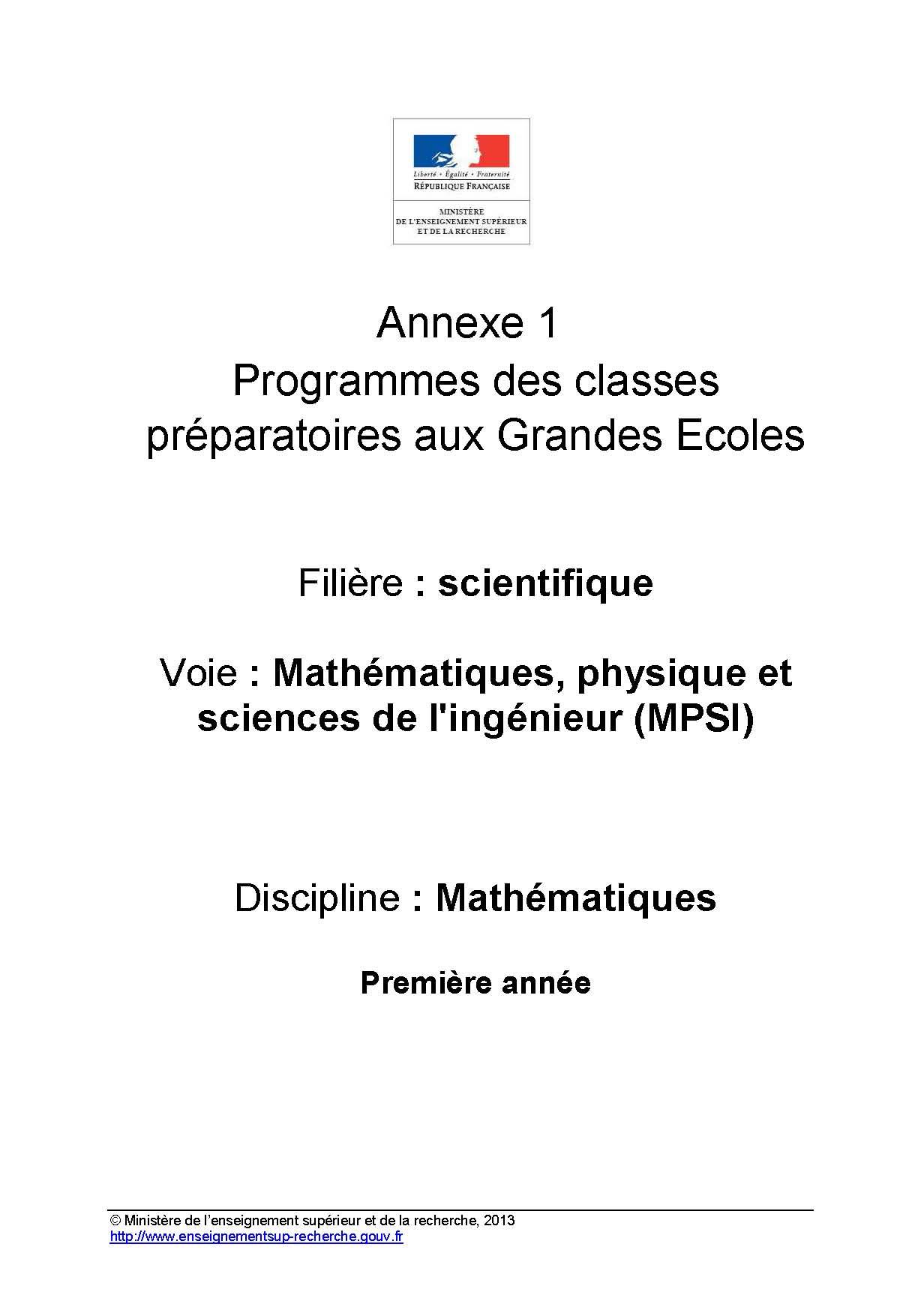Annexes et programme MPSI