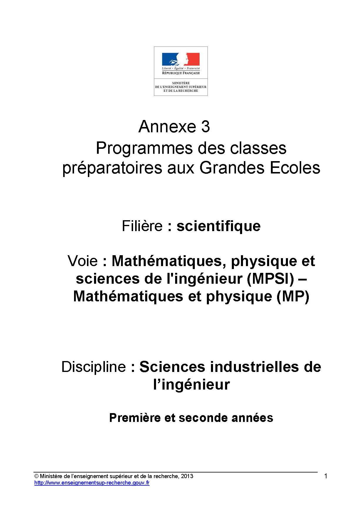 Annexes et programme SI en MPSI
