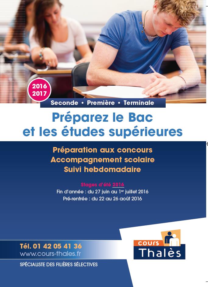 plaquette Stages Lycée Cours Thalès 2016
