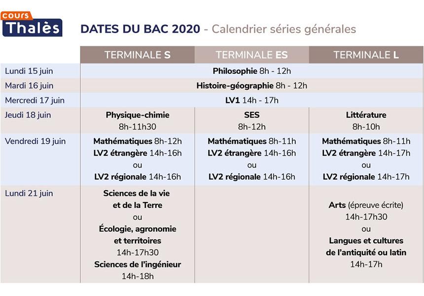 Calendrier Bac 2020.Les Dates Du Bac 2020 Par Filiere