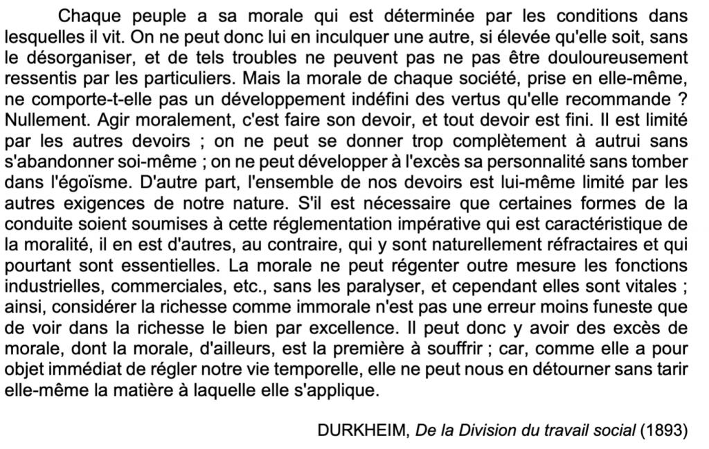 De la division du travail de Durkheim